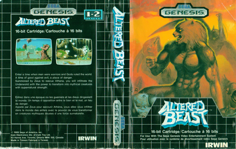Altered Beast NTSC-CD Irwin Electronics Canadian Version Cover
